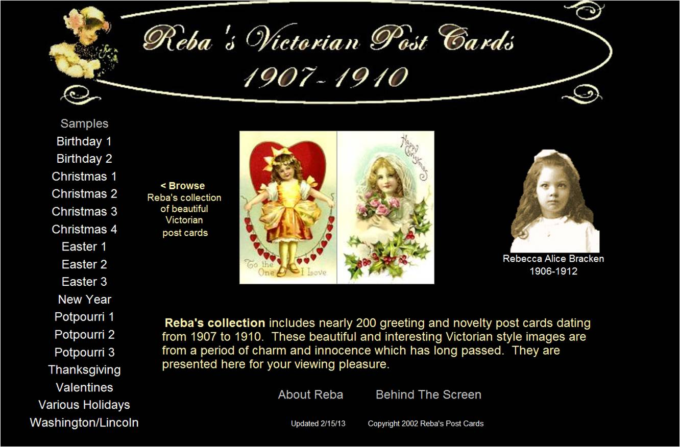 Reba's Victorian Post Cards 1907-1910